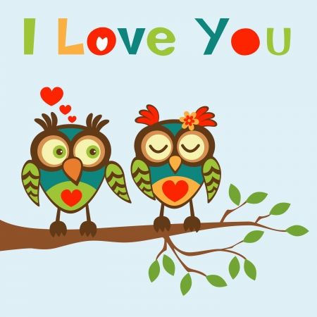 I love you card with two lovely owls Vector