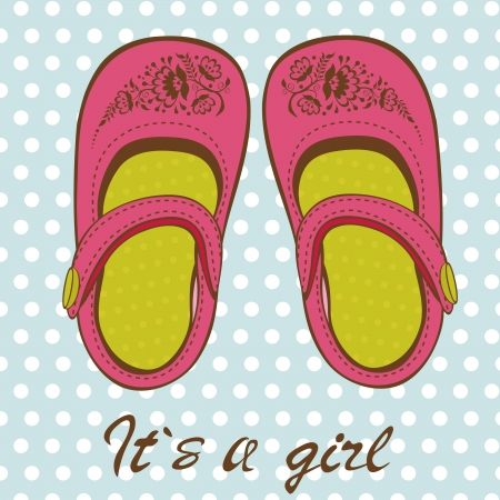 baby shoes: Baby girl arrival card with cute baby girl shoes