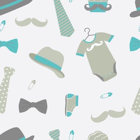 baby cupcake: Little man baby shower seamless pattern Illustration