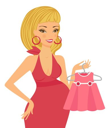 womna: Mom to be shopping for her upcoming baby girl Illustration