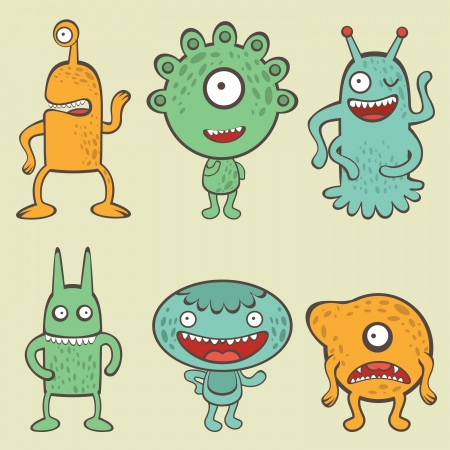 Cute colorful monsters collection