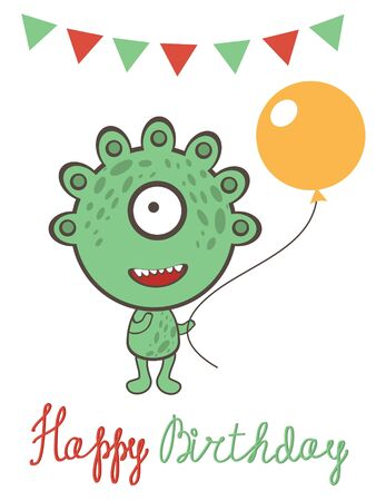 Cute monster birthday celebration card Vector