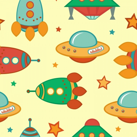 Colorful outer space seamless pattern Vector
