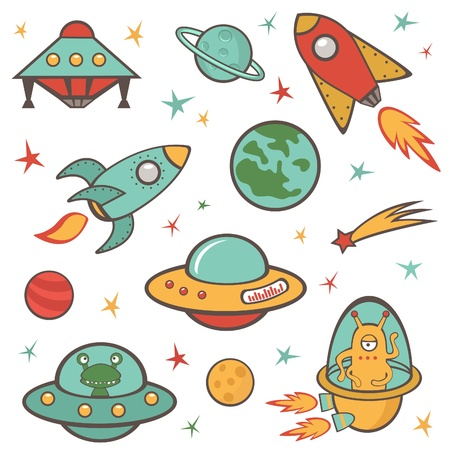 spacecraft: Colorful outer space stickers collection