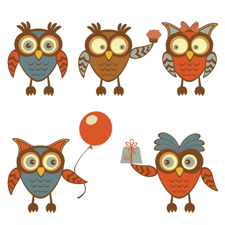 Cute collection of funny owl characters Vector