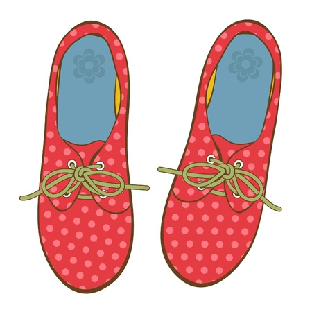 running shoe: Eleganti scarpe a pois per la ragazza o giovane adulto Vettoriali