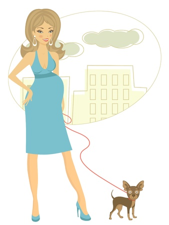Illustration of Beautiful pregnant woman with little dog Vector