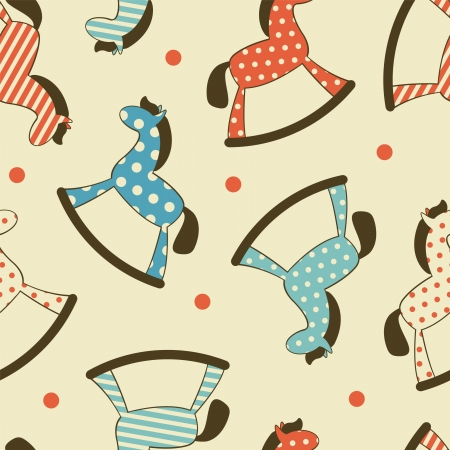 rocking: Colorful Seamless pattern with rocking horses Illustration