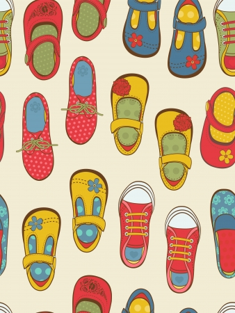 Colorful little girls shoes pattern Vector