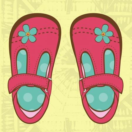 Elegant baby girl shoes on grunge background