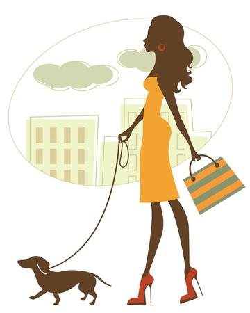 шик: Иллюстрация Chic женщина, прогулки с таксой