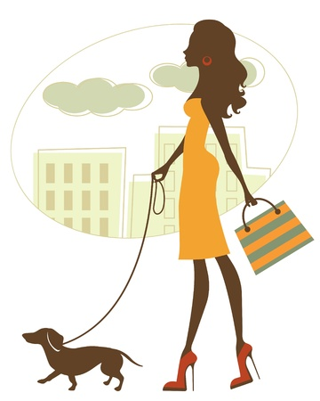 dog walking: Illustration of Chic woman walking with dachshund