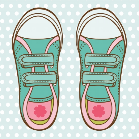 baby clothes: An illustration of fashionable girl trainers Illustration