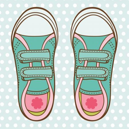 tierno: Una ilustraci�n de ni�a entrenadores de moda Vectores