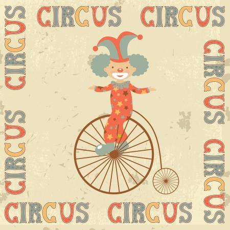 bicicleta retro: Cartel de circo retro con el payaso en bicicleta retro