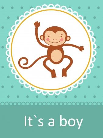 b�b� singe: Il gar�on Carte d'arriv�e de b�b� `s avec petit b�b� singe
