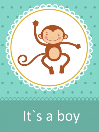 It`s a boy baby arrival card with little baby monkey Vector