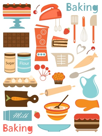 measuring spoons: Colorful baking icons composition illustration