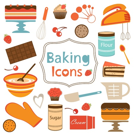 bake: Colorful collection of baking items. Vcetor illustration Illustration