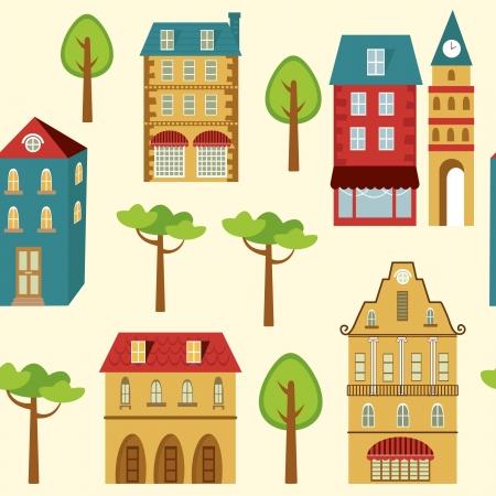 Cute city seamless pattern Illustration
