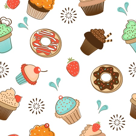 pastries: Colorful seamless desserts pattern