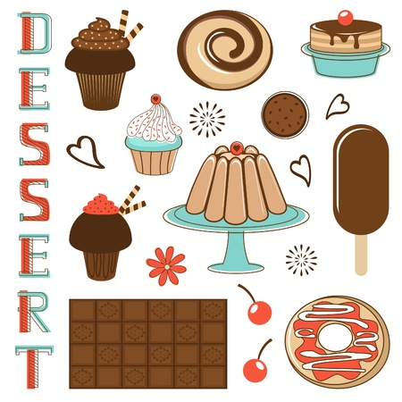 kitchen tools: Delicious desserts set illustration