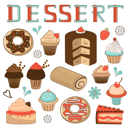 Colorful dessert menu composition Vector