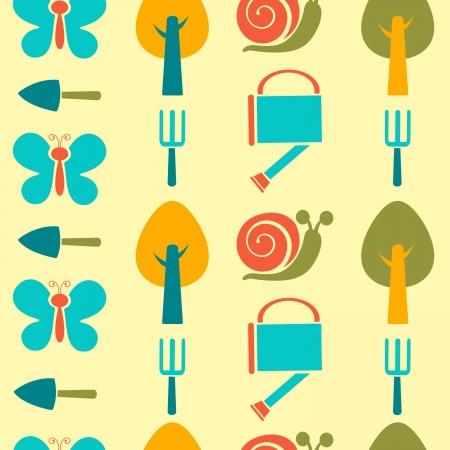 Colorful garden pattern illustration Vector