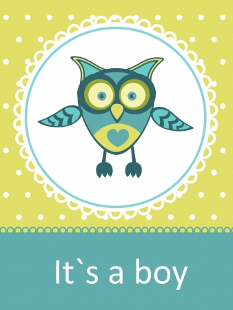 New baby announcement card with baby owl Vector