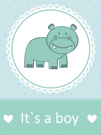 it s a boy: It s a boy baby arrival card with little baby hippo