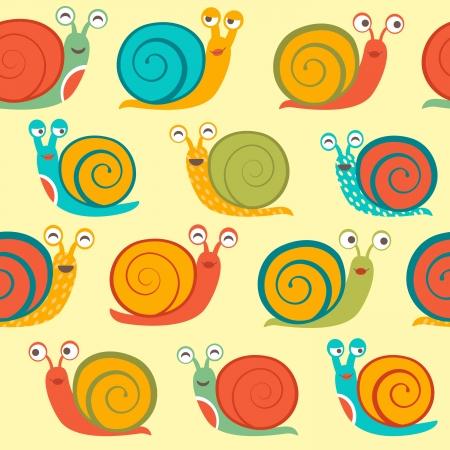 Snails seamless pattern  イラスト・ベクター素材