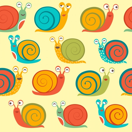 Snails seamless pattern Ilustrace
