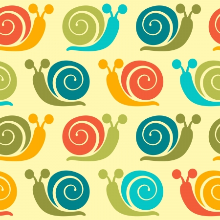 textiles: Colorful snails seamless pattern