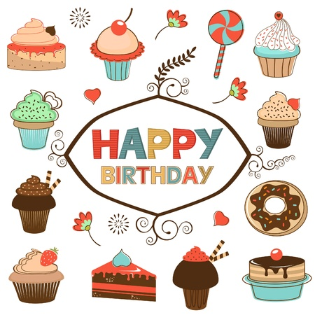 Happy birthday card with sweets Vector