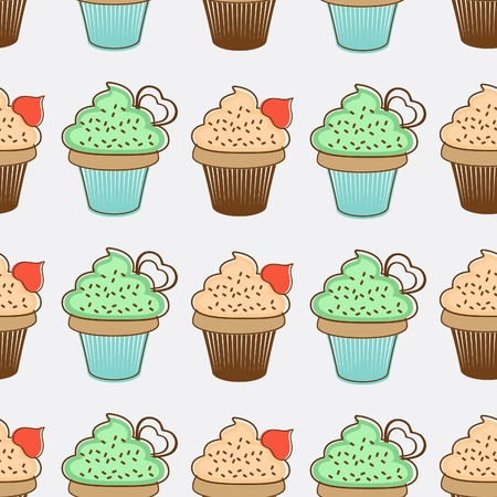 Cupcakes seamless background illustration Vector