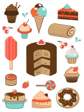 pastry shop: Delicious sweets icons collection Illustration
