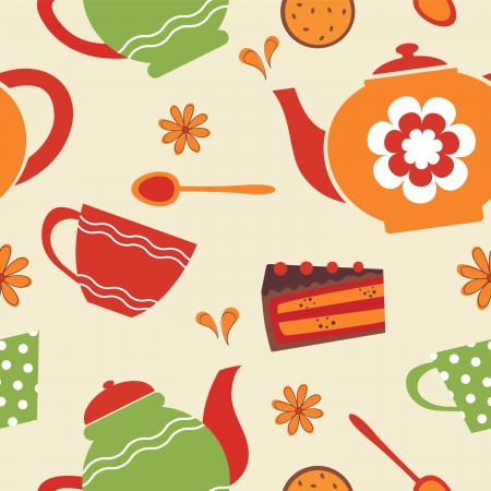 Tea party seamless pattern illustration Vector