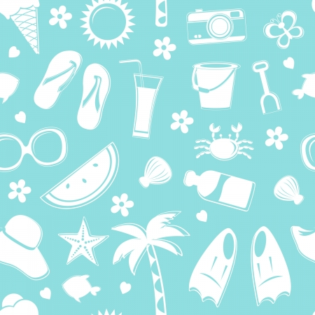 Seamless pattern of beach related items Vector