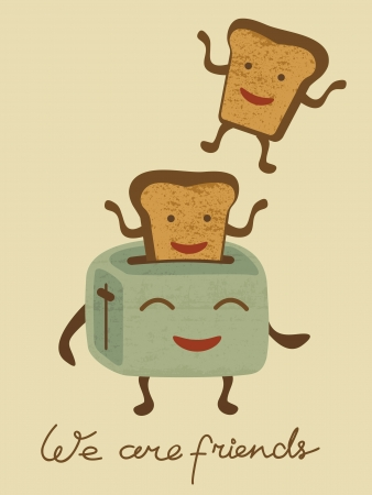 toaster: Illustration of happy bread jumping from the toaster Illustration