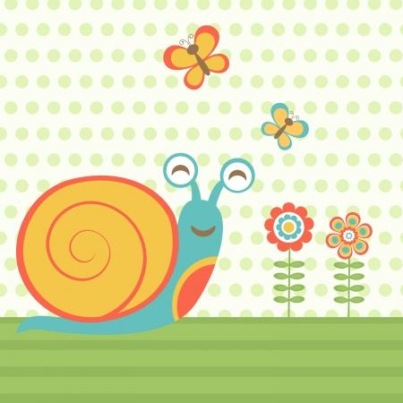 Illustration of happy snail format