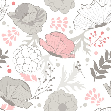 Romantic seamless pattern with poppy flowers Vector