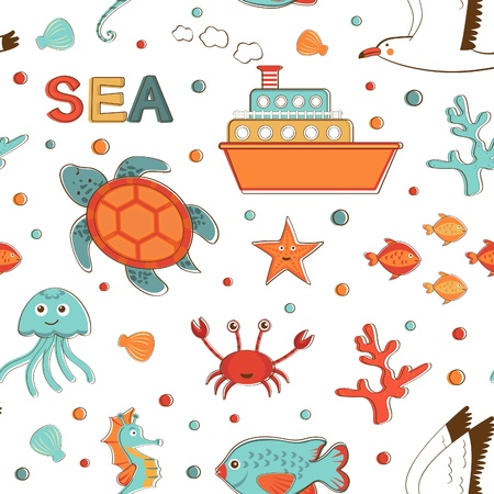 Beautiful sea related items pattern illustration Vector