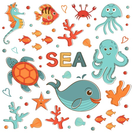Cute sea creatures collection format Vector