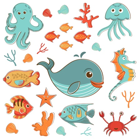 Sea creatures doodles set format Vector