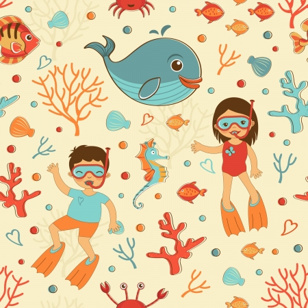 Cute seamless sea pattern with diving kids and sea creatures Vector