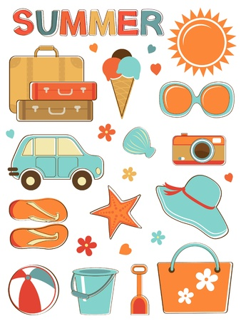 Stylish summer icons set  Vector