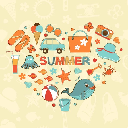 Summer heart beautiful background Vector