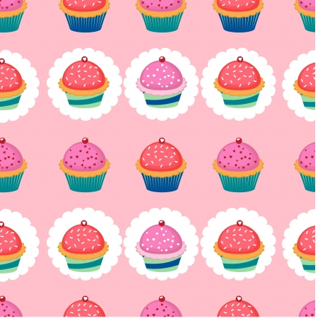colorfu: Colorfu seamlessl pattern with cupcakes Illustration