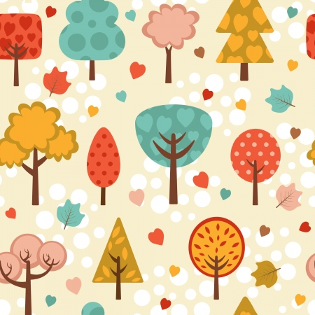 coma: Colorful trees seamless background Illustration