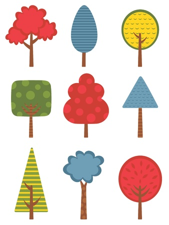 Cute colorful trees collection Stock Vector - 21070066